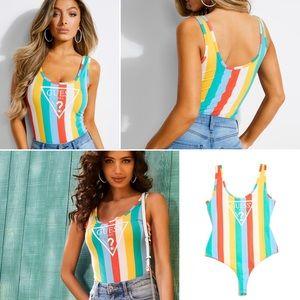 NWT GUESS Rainbow Stripe Bodysuit